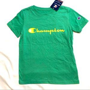 Boys CHAMPION Classic Logo Athletic Tee Green NWT